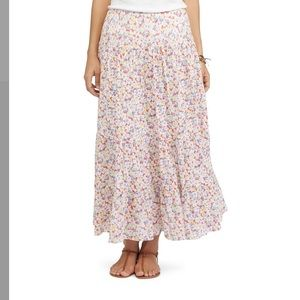 Chaps Floral Crinkle Maxi Skirt